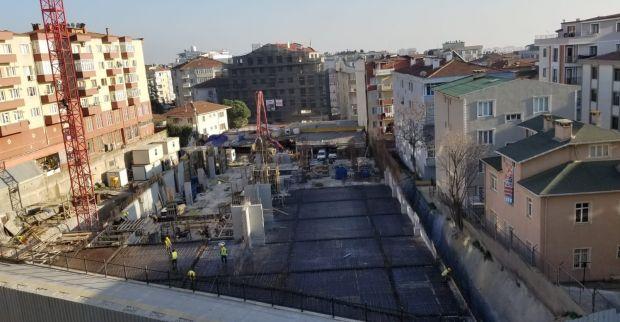 Gebze'deki 7 katlı otoparkın  bodrum kat betonları döküldü