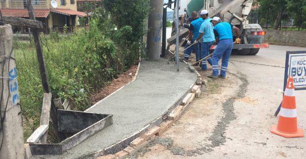 Köy yollarına kaldırım imalatı