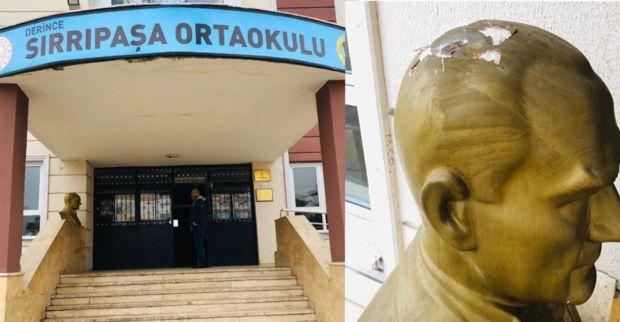 Okul bahçesindeki Atatürk büstünü kırdılar